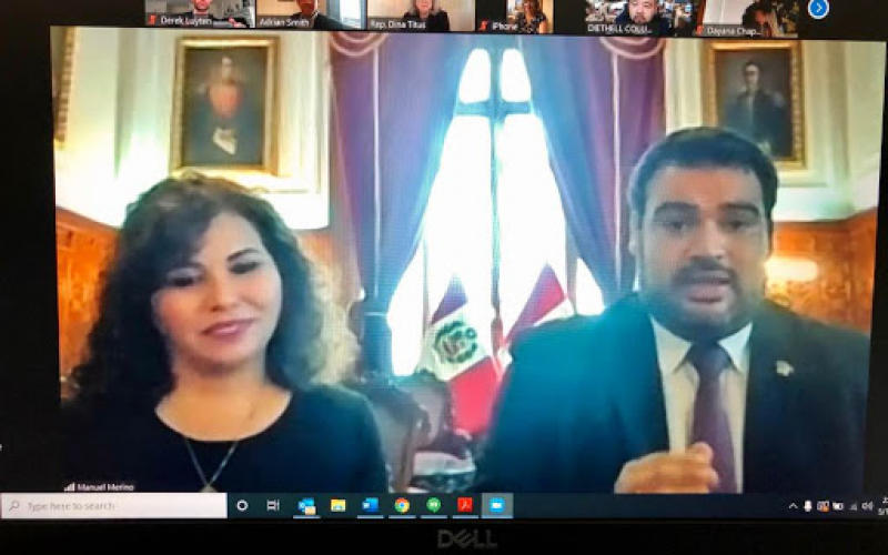 Originally scheduled as an in-person CODEL occurring in April 2020, HDP instead held a virtual CODEL meeting on May 18, 2020, with senior leadership from Peru's Congress.  In this photo, Second Vice President, Honorable Guillermo Aliaga, and Third Vice Pr